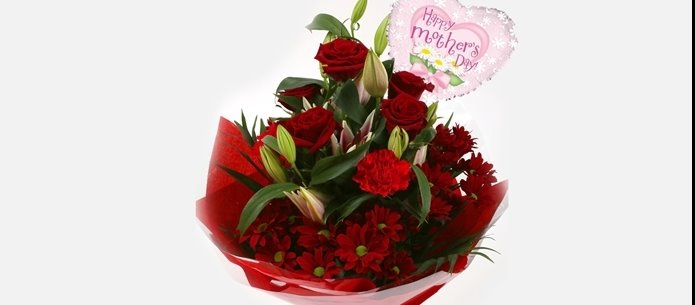 Mothers Day Balloon & Red Rose & Lilly Bouquet - FREE DELIVERY