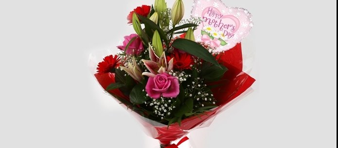 Mothers Day Balloon & Pink Oriental Bouquet - FREE DELIVERY