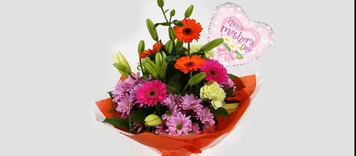 Mothers Day Balloon & Colour Burst Bouquet - FREE DELIVERY