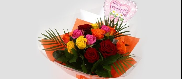 Mothers Day Balloon & Roses Galore Bouquet - FREE DELIVERY