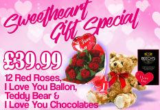 12 Red Roses-Love You Balloon & Love Chocs & Bear
