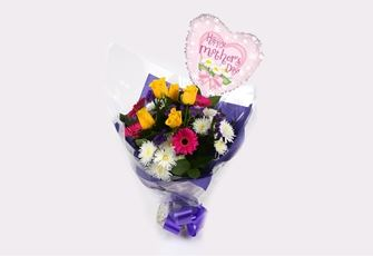 Mothers Day Balloon & Star Burst Bouquet  - FREE DELIVERY