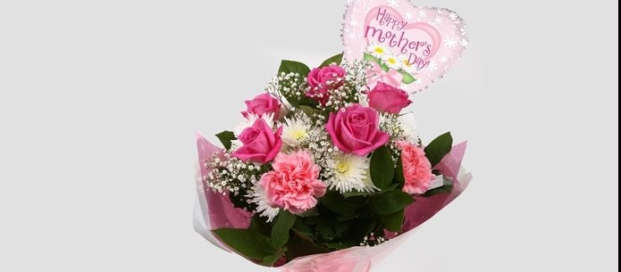 Mothers Day Balloon & Strawberry Pink Blush  - FREE DELIVERY