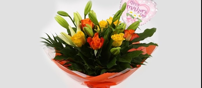 Mothers Day Balloon & Aztec Yellow Bouquet - FREE DELIVERY