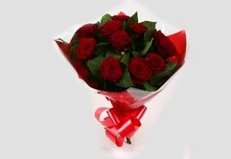 12 Red Roses Bouquet -Clear Savings-Clear Prices