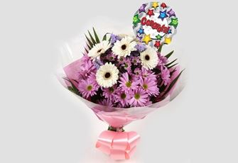 Congrats Balloon & Pink Santini Bouquet-FREE DELIVERY