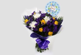 Its a Boy Balloon & Purple Moon Bouquet-FREE DELIVERY