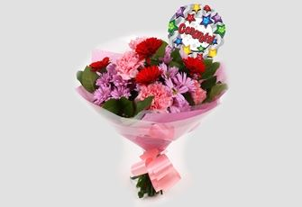 Congrats Balloon & Pink Mystique Bouquet - Free Delivery