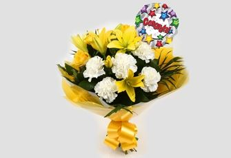 Congrats Balloon & Golden Sunshine Bouquet - FREE DELIVERY-Clear Savings-Clear Prices-Compare The Quaility