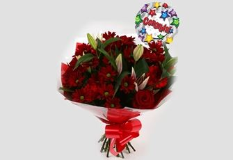 Congrats Balloon & Red Rapture Bouquet - FREE DELIVERY