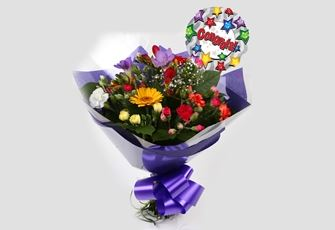 Congrats Balloon & Fragrant Star Bouquet - FREE DELIVERY