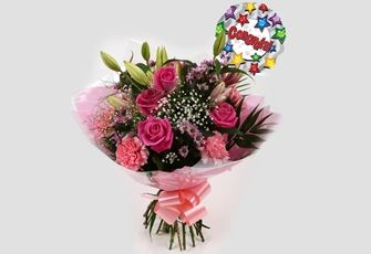 Congrats Balloon & Pink Crystal Bouquet - FREE DELIVERY