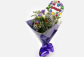 Congrats Balloon & Freesias Gypsophila Bouquet - FREE DELIVERY