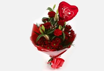 Love You Balloon & Red Roses Lilly Bouquet-FREE DELIVERY