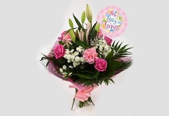 Its a Girl Balloon & Strawberry Sundae Bouquet-FREE DELIVERY