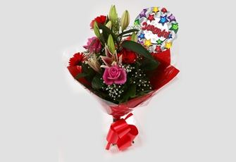 Congrats Balloon & Pink Oriental Bouquet-FREE DELIVERY