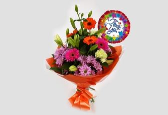 Thank You Balloon & Colour Burst Bouquet - FREE DELIVERY