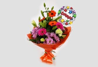 Congrats Balloon & Colour Burst Bouquet - FREE DELIVERY