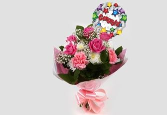 Congrats Balloon & Strawberry Pink Blush Bouquet -Clear Savings-Clear Prices