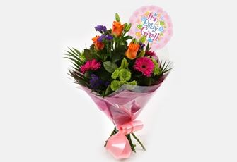 Its a Girl Balloon & Melody Bright Bouquet-FREE DELIVERY