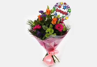 Congrats Balloon & Melody Bouquet - FREE DELIVERY