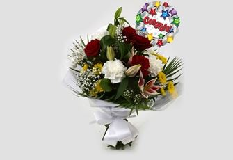 Congrats Balloon & Scarlett Bouquet-FREE DELIVERY