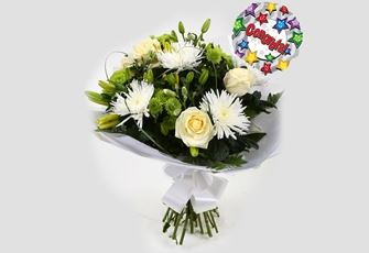 Congrats Balloon & Golden Cream Bouquet - FREE DELIVERY