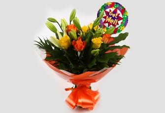 Get Well Balloon & Aztec Yellow Bouquet - Clear Savings-Clear  Prices-Compare The Quaility