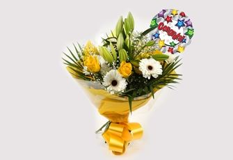 Congrats Balloon & Lemon White Bouquet - FREE DELIVERY