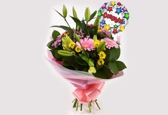 Congrats Balloon & Florist Meadow Bouquet - FREE DELIVERY