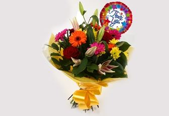 Thank You Balloon & Jubilation Bouquet - FREE DELIVERY