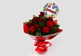 Congrats Balloon & Heart Special Bouquet - FREE DELIVERY