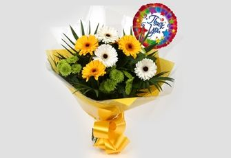Thank You Balloon & Yellow Cream Bouquet - FREE DELIVERY