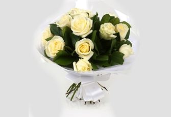 12 White Roses Bouquet-Clear Savings-Clear Prices-FREE DELIVERY