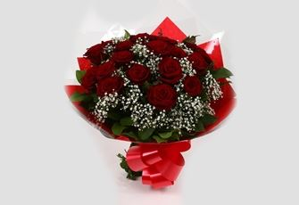 24 Red Roses With Gypsophila-FREE DELIVERY
