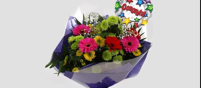 Congrats Balloon & Elegance Bouquet-FREE DELIVERY