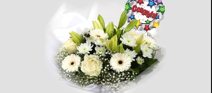 Congrats Balloon & White Petite Bouquet - FREE DELIVERY