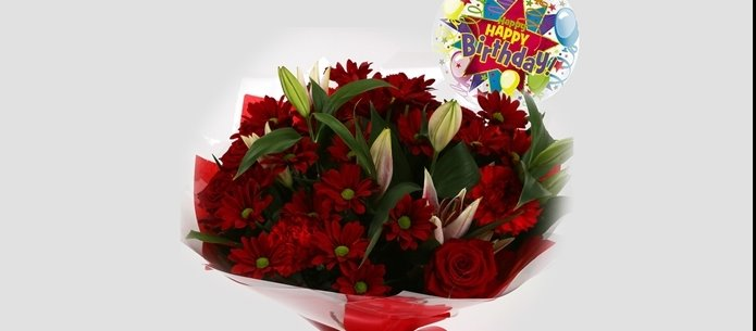 Birthday Balloon & Red Rapture Bouquet-FREE DELIVERY