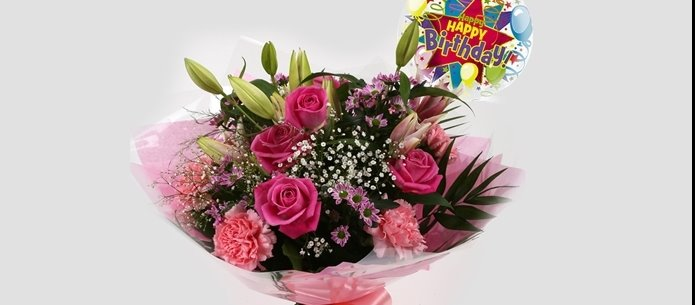 Birthday Balloon & Pink Crystal Bouquet-FREE DELIVERY