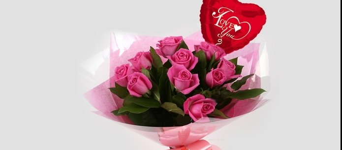 Love You Balloon & 12 Pink Roses Bouquet-FREE DELIVERY