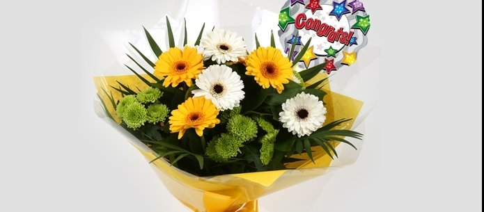 Congrats Balloon & Yellow Cream Bouquet - FREE DELIVERY