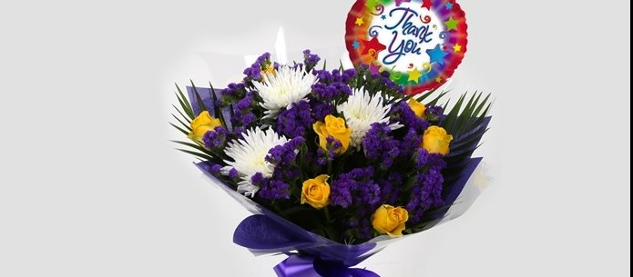 Thank You Balloon & Purple Moon Bouquet