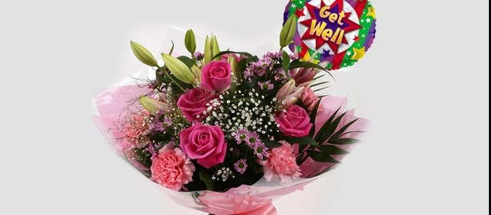 Get Well Balloon & Pink Crystal Bouquet