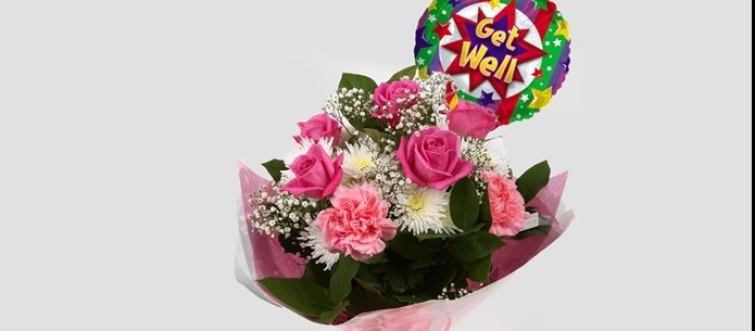 Get Well Balloon & Strawberry Pink Blush  Bouquet -Clear Savings-Clear Prices-Compare The Quaility