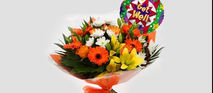 Get Well Balloon & Orange Burst Bouquet