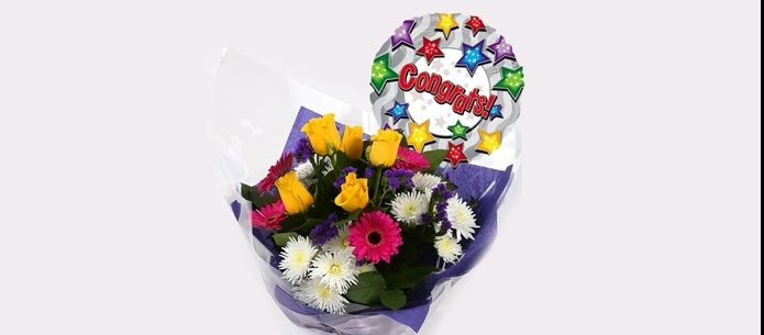 Congratulations Balloon & Starburst Bouquet -Clear Savings-Clear Prices