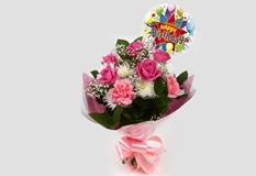 Birthday Balloon & Strawberry Pink Blush -FREE DELIVERY-Clear Savings-Clear Prices-Compare The Quaility