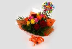 Birthday Balloon & Roses Galore Bouquet-FREE DELIVERY